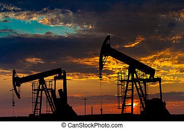 nafta, pumps., výkonný průmyslové odvětví, equipment.