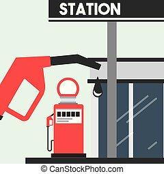 nafta, służba przemysł, gaz, stacja benzynowa