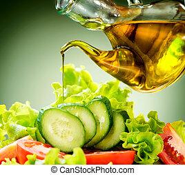 nafta, sałata, zdrowy, roślina, obrywka, oliwka