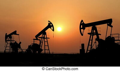 nafta, sylwetka, pracujący, timelapse, przeciw, pompy, ...