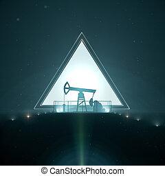 nafta, sylwetka, render, lekki, pompa, pojęcie, trangle, lewarek, tło, noc, projektować, 3d