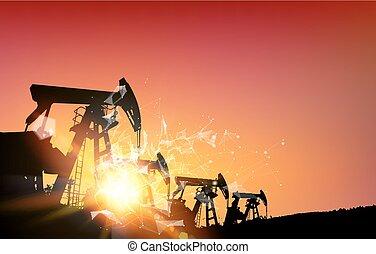 naftové pole, nad, sunset.