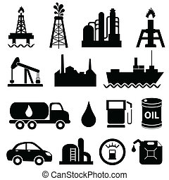 naftowy przemysł, ikona, komplet