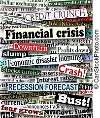 nagłówki, finansowy, kryzys
