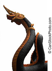 Naga statue of thailand with the white background