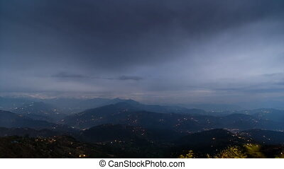 Night time-lapse view on the Himalayas from Nagarkot in Nepal