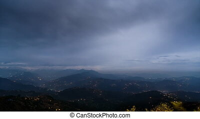 Night time-lapse view on the Himalayas from Nagarkot in Nepal. Cinemagraph seamless loop.
