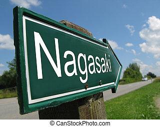 Nagasaki signpost along a rural road