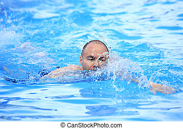 nage, EXTÉRIEUR, piscine, homme
