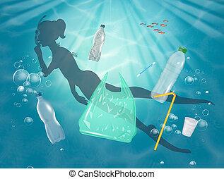 nage, girl, plastique, mer