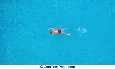 nage, rouges, aérien, homme, short, vue, piscine