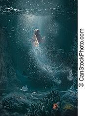 nage, sous-marin, surface, femme, méduse, moitié, scène, fantasme