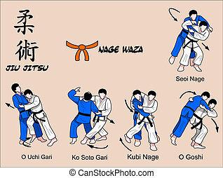 nage, waza, cor, jitsu, jiu, 2