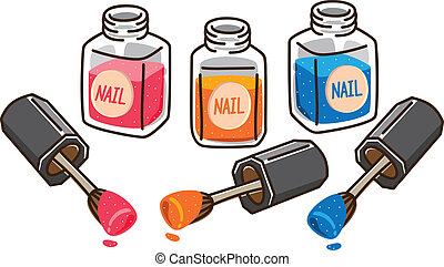nagellack, karikatur