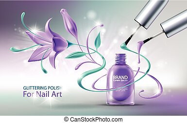 nagellak, vector, illustratie, glittering