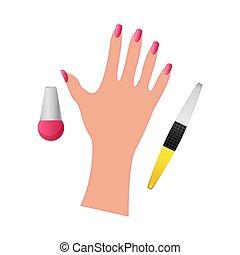 nagellak, witte achtergrond, hand