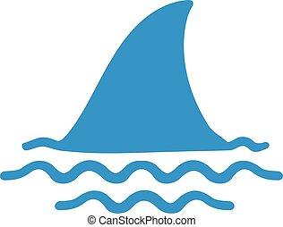 nageoire, eau, requin