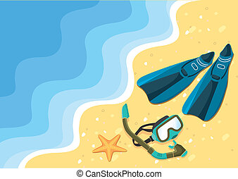 nageoires, lunettes protectrices, vecteur, mer, plage, natation