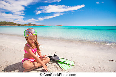 nageoires, peu, lunettes protectrices, girl, snorkling