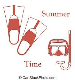 nageoires, récréation, coloré, tube, theme., sports, stylisé, masque, diving., scaphandre, icône