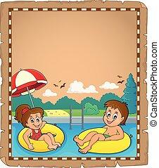 nager, anneaux, enfants, parchemin