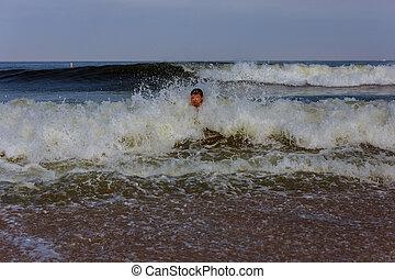 nager, homme, deux âges, océan