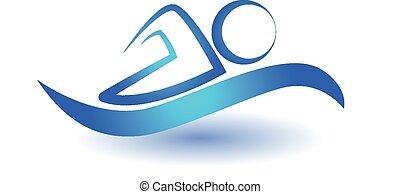 nager, logo, sport, icône