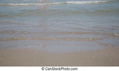 nager, mer, ensoleillé, day., à terre, vagues