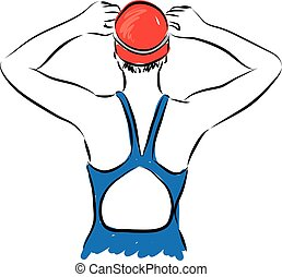 nageur, femme, professionnel, obtenir