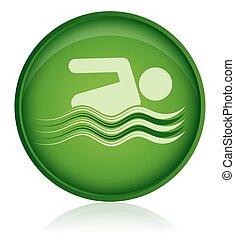 nageur, natation, icône, piscine, vert