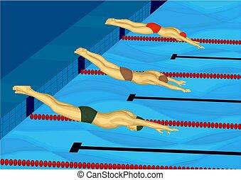 nageurs, trois, piscine