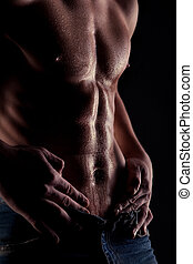 nagi, żołądek, muskularny, woda, sexy, krople, człowiek