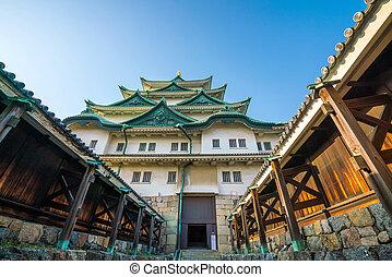Nagoya castle in Japan with blue sky