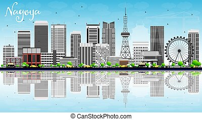 Nagoya Skyline with Gray Buildings, Blue Sky and Reflections.