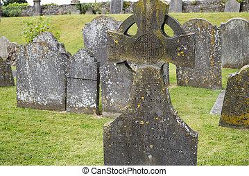 nagrobki, na, starożytny, cmentarz