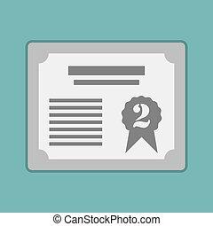nagroda, srebro, certificat, dla, 2st., wektor, ilustracja, eps10