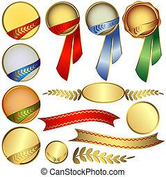 nagrody, zbiór, wstążki