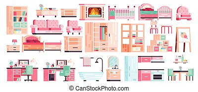 nagy, állhatatos, felszerelés, gyűjtés, vektor, elszigetelt, ikonok, közül, berendezés, helyett, fürdőszoba, belső, konyha, hivatal, hálószoba, szerencsejáték, kandalló, noha, pamlag, és, karosszék