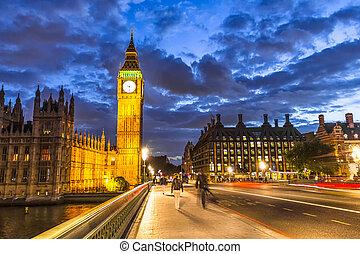 nagy, éjszaka, anglia, london, ben