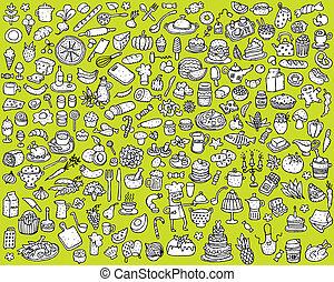 nagy, élelmiszer, és, konyha, ikonok, gyűjtés, alatt, fekete-fehér