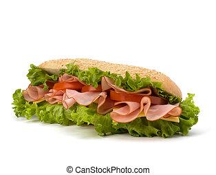 nagy, étvágygerjesztő, gyorsan elkészíthető étel, baguette szendvics, noha, fejes saláta, paradicsom, füstölt sonka, and sajt, elszigetelt, white, háttér., gyorsétel, subway.