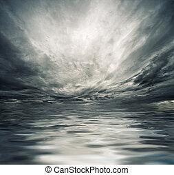 nagy, óceán lenget, törő, a, tengerpart