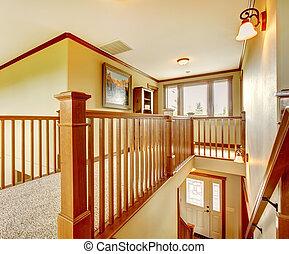 nagy, új, amerikai, otthon, lépcsőház, bejárat, details.