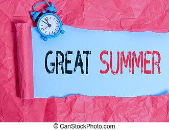 nagy, ügy, birtoklás, outdoor., tengerpart, szöveg, haladó, fogalom, írás, móka, jó, szó, summer., napfény, élvez