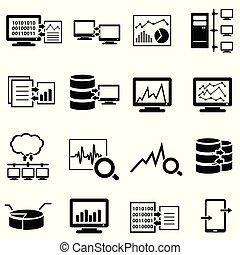 nagy, adatok, számítógép, és, felhő, kiszámít, szövedék icons