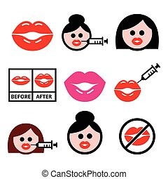 nagy, ajkak, ajak, nagyobbodás, piros, ikon