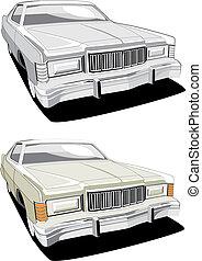 nagy, amerikai, retro, autó