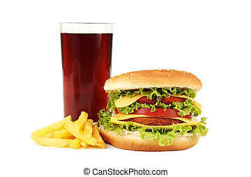 nagy, burger, elszigetelt, white