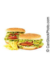nagy, burgers, elszigetelt, white