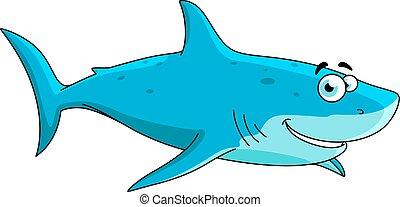 Nagy, cápa, betű, Karikatúra, úszás